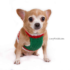 Christmas Dog Clothes Harness with Red and Green Pearls DF8 by Myknitt