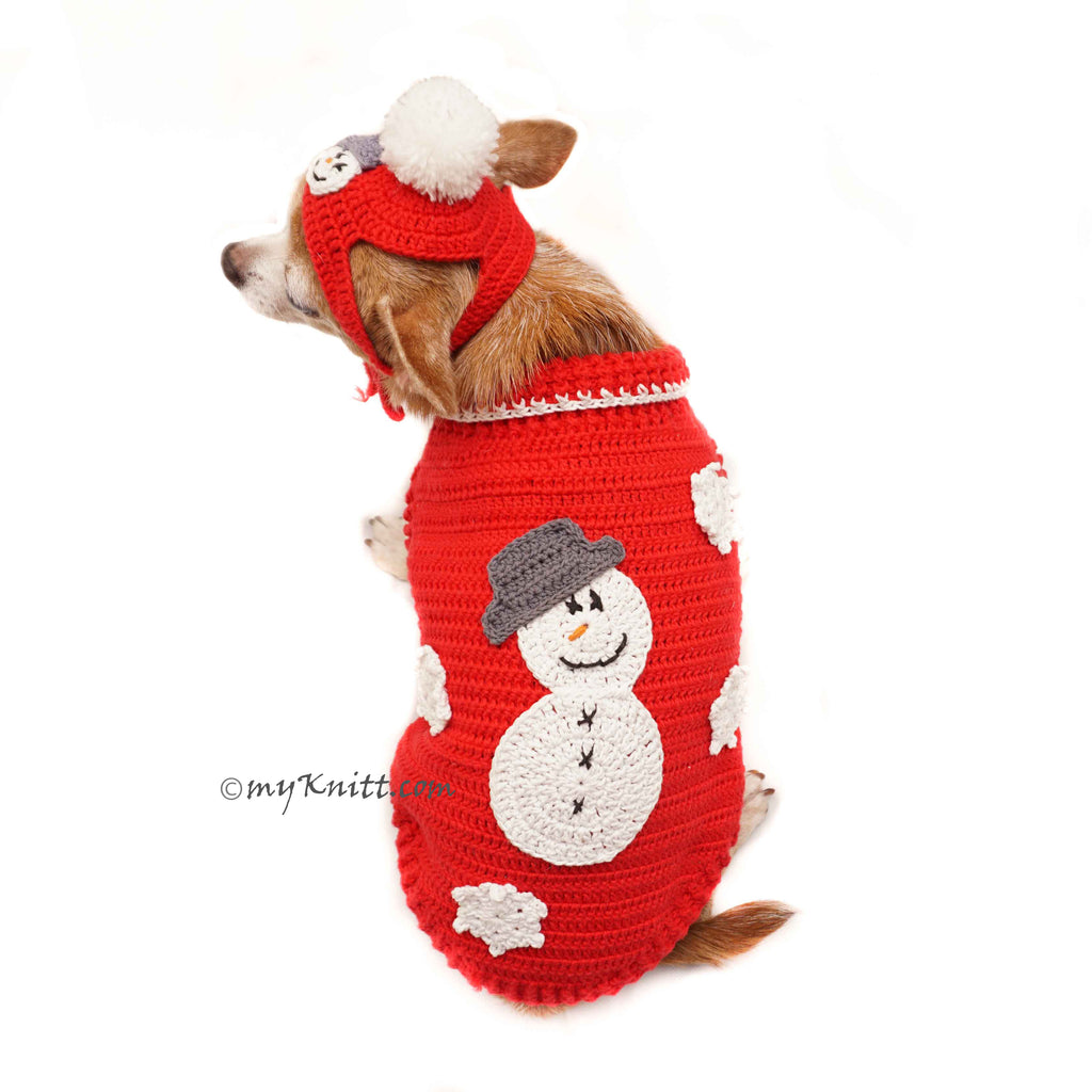 Snowman Dog Costume with Matching Pom Pom Hat Christmas DF90