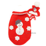 Snowman Dog Costume with Matching Pom Pom Hat Christmas DF90  by Myknitt (1)