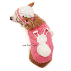 Bunny Costume for Halloween Cute Dog Clothes Rabbit with Matching Hat DF91 by Myknitt