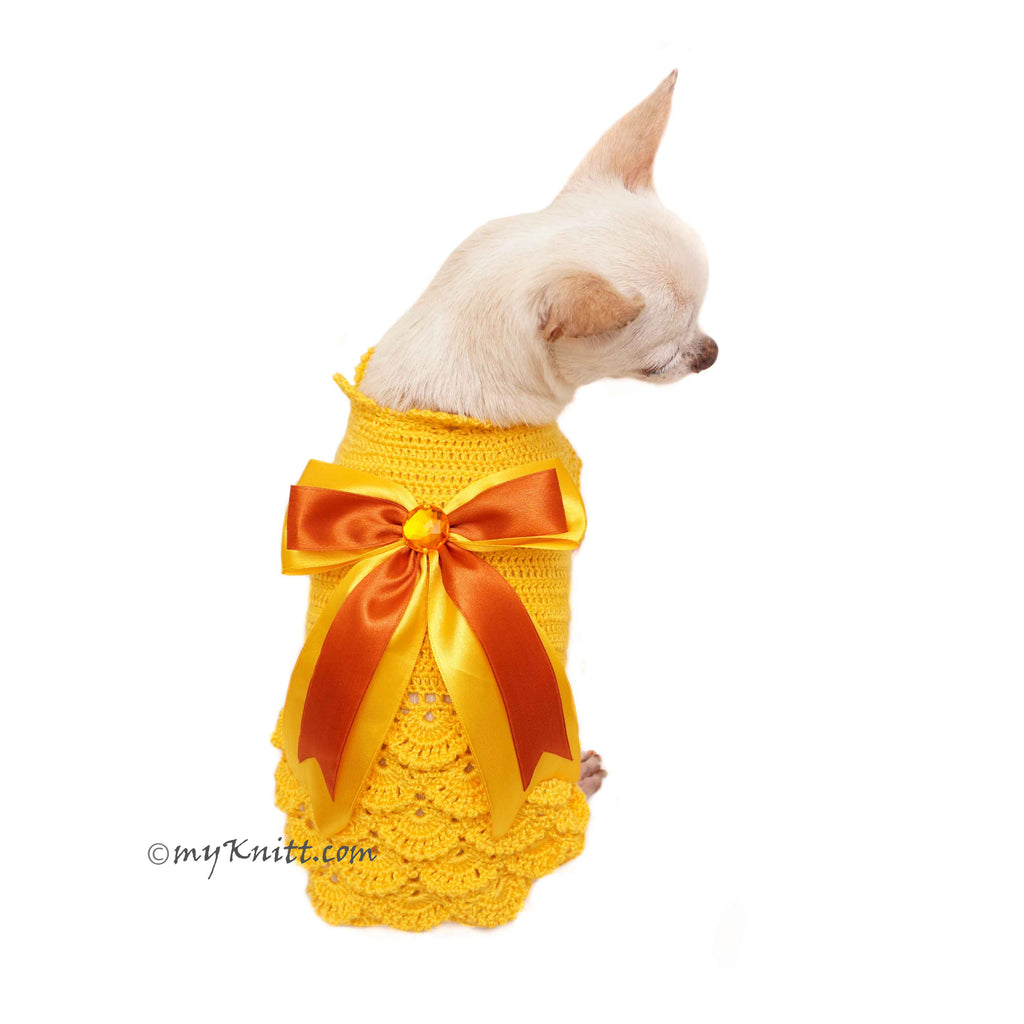 Yellow Victorian Ruffled Dog Dress Elegant Pet Costume DF92