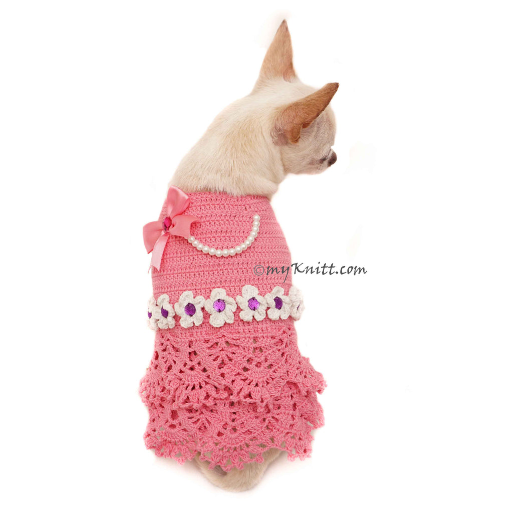 Pink Peach Dog Dress with Bow and Pearls Girly Elegant Pet Dress DF93