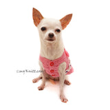 Pink Peach Dog Dress with Bow and Pearls Girly Elegant Pet Dress DF93 by Myknitt (1)