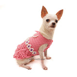 Pink Peach Dog Dress with Bow and Pearls Girly Elegant Pet Dress DF93 by Myknitt (2)