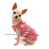 Pink Peach Dog Dress with Bow and Pearls Girly Elegant Pet Dress DF93 by Myknitt (3)