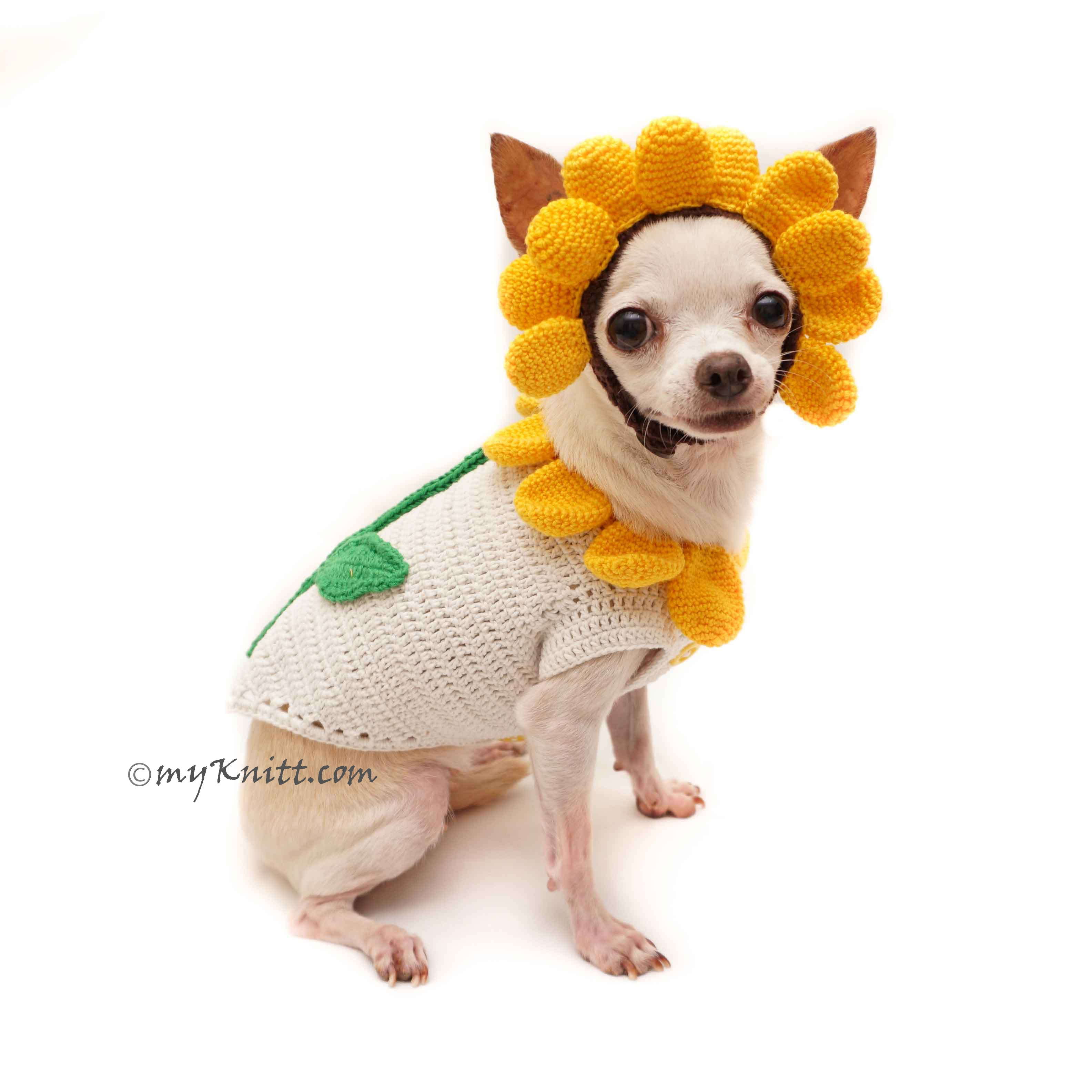 Charming Sunflower Costume For Dogs Cute Pet Halloween Costume DF94