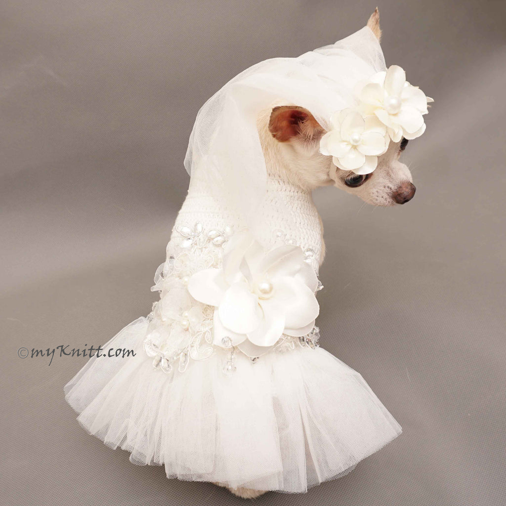 White Bridal Wedding Dog Dress with White Veil Hand Crochet DF95