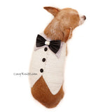 White Elegant Dog Tuxedo Wedding Costume, Chihuahua Wedding Tuxedo DF96 by Myknitt