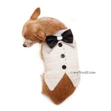 White Elegant Dog Tuxedo Wedding Costume, Chihuahua Wedding Tuxedo DF96 by Myknitt (3)