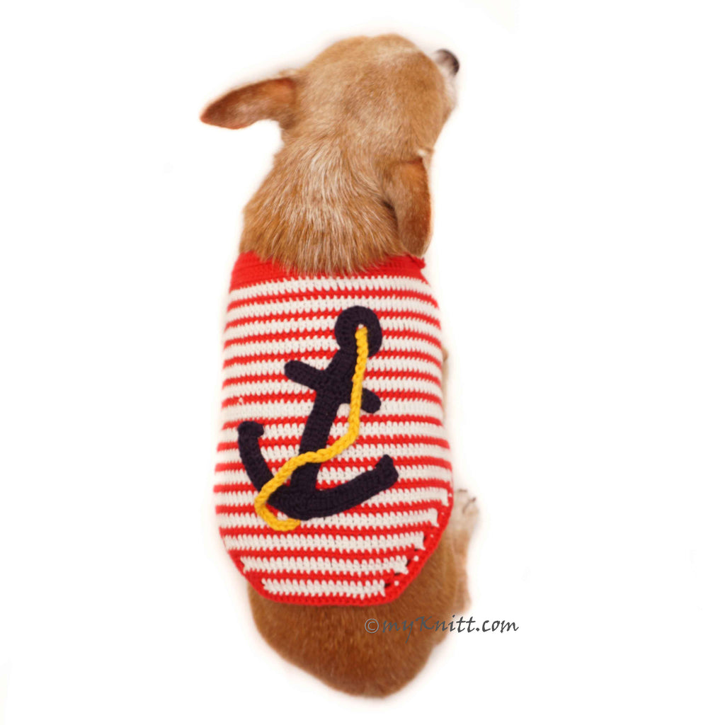 Captain Marine Dog Costume Sailor Navy Pet Clothes Crochet DF97