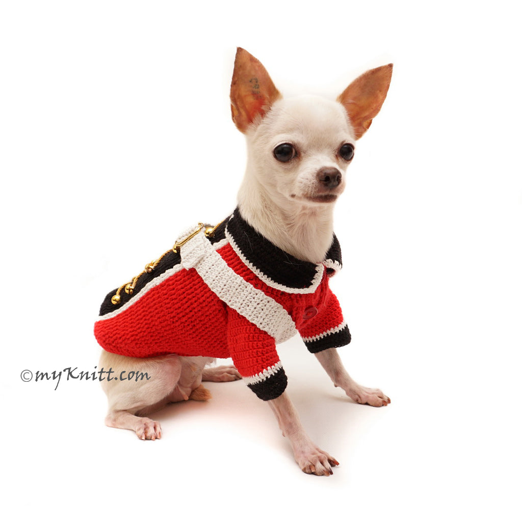 British Red Coat Army Dog Costume Halloween Pet Clothes Crochet DF98