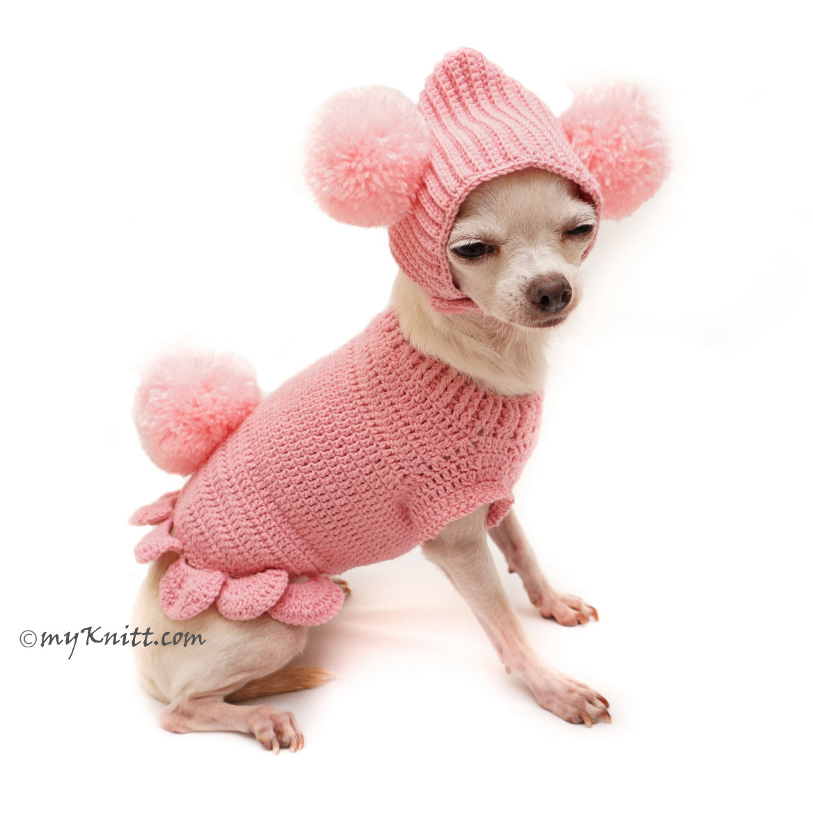 Pink Dog Clothes Bunny Pom Pom Hat Cute Knitting Pet Sweater DF99