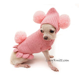 Pink Dog Clothes Bunny Pom Pom Hat Cute Knitting Pet Sweater DF99 by Myknitt (1)