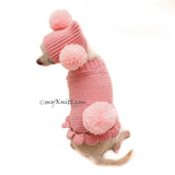 Pink Dog Clothes Bunny Pom Pom Hat Cute Knitting Pet Sweater DF99 by Myknitt (2)