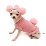 Pink Dog Clothes Bunny Pom Pom Hat Cute Knitting Pet Sweater DF99 by Myknitt (3)