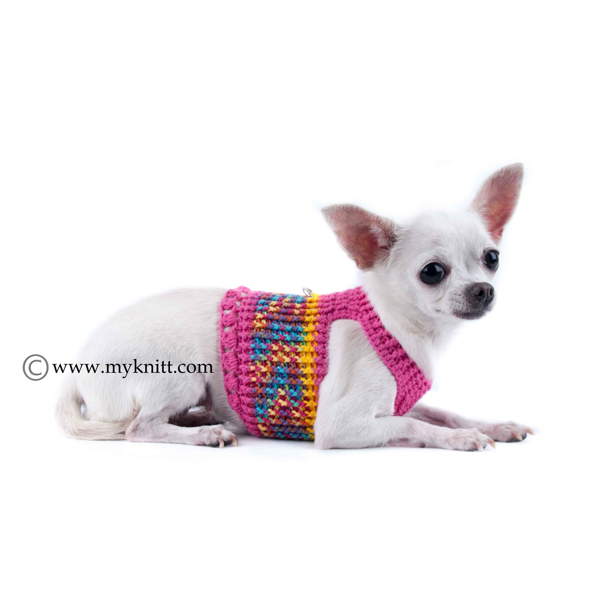 Pink Dog Harness Comfortable Choke Free Puppy Collars Handmade Crochet DH13