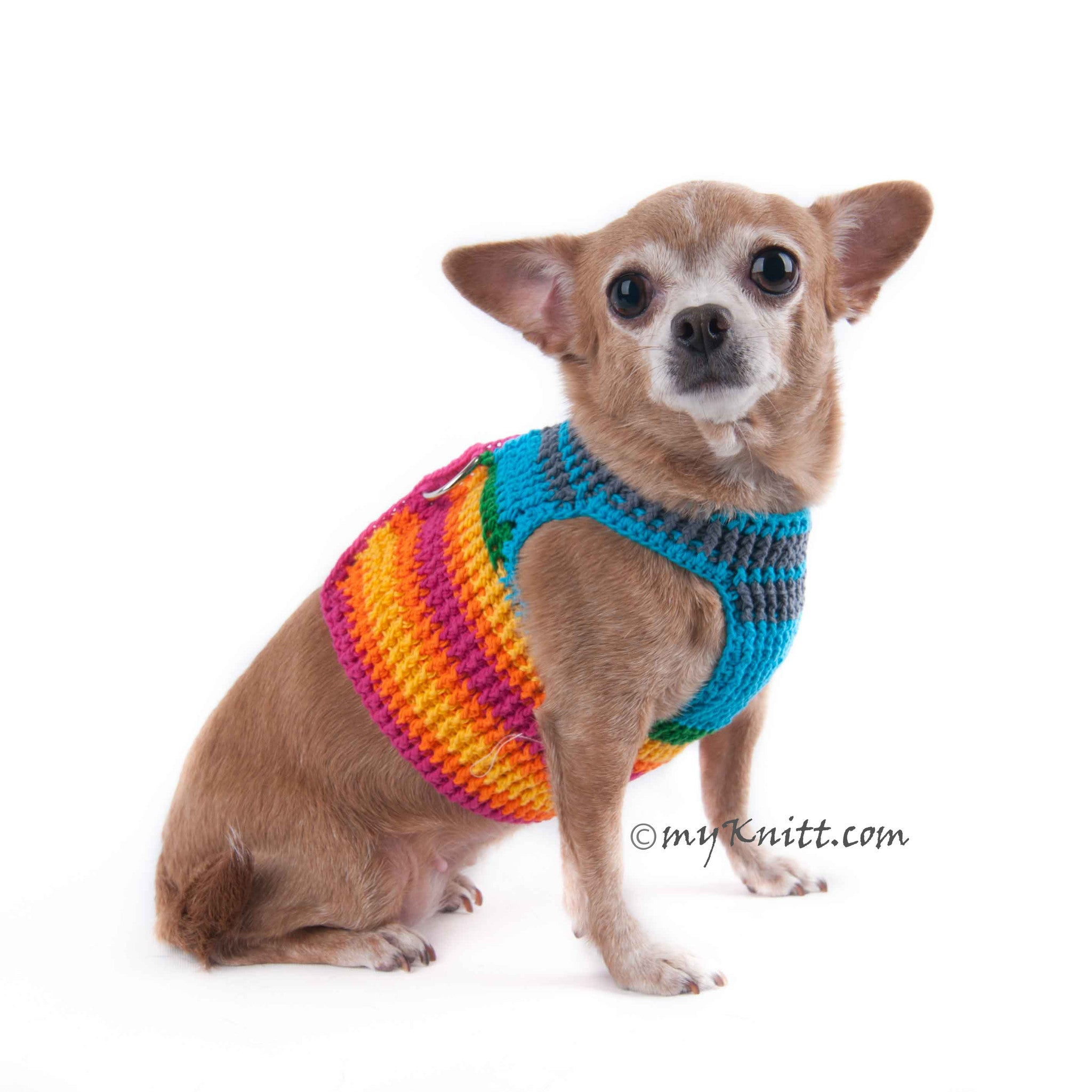 Rainbow Dog Harness Velcro Adjustable Choke Free Puppy Clothes DH45 - Myknitt