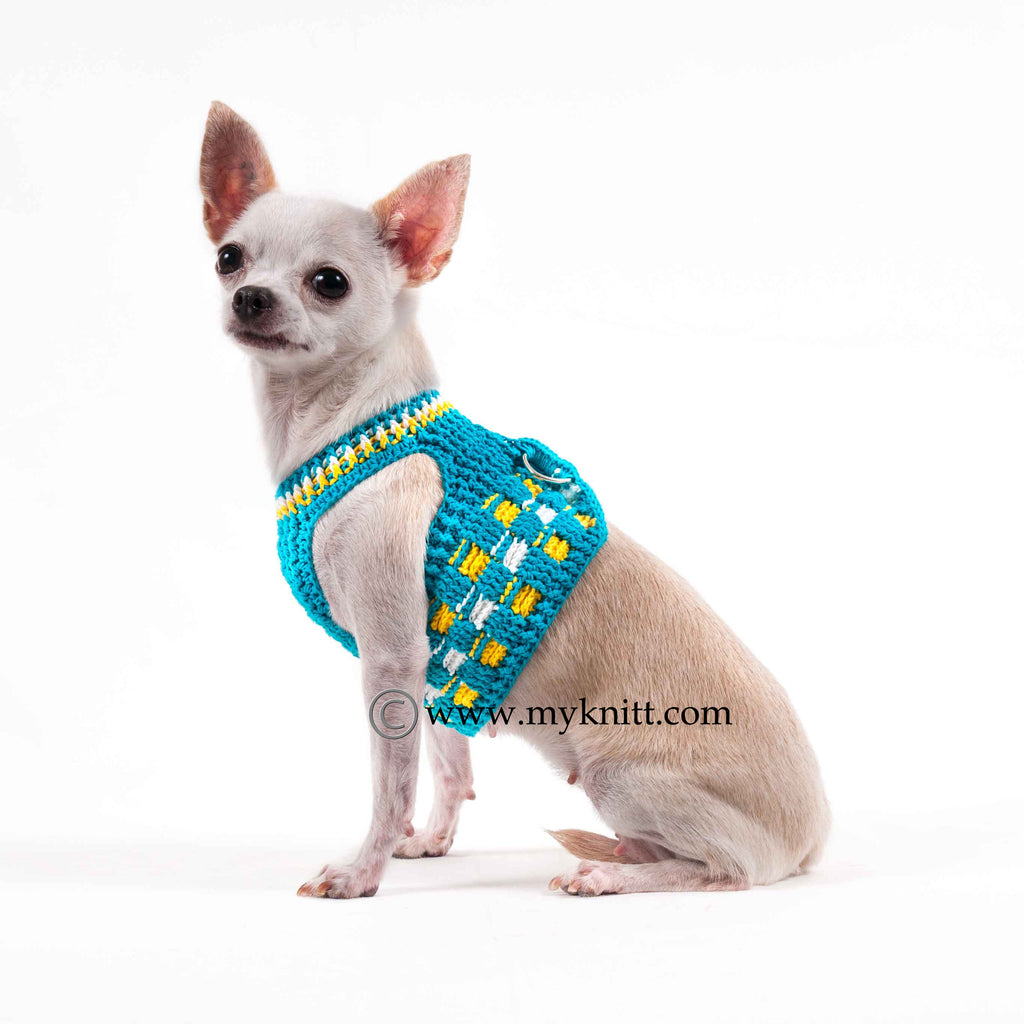 Turquoise Dog Harness Vest with Velcro Strap Cotton Crochet DH52