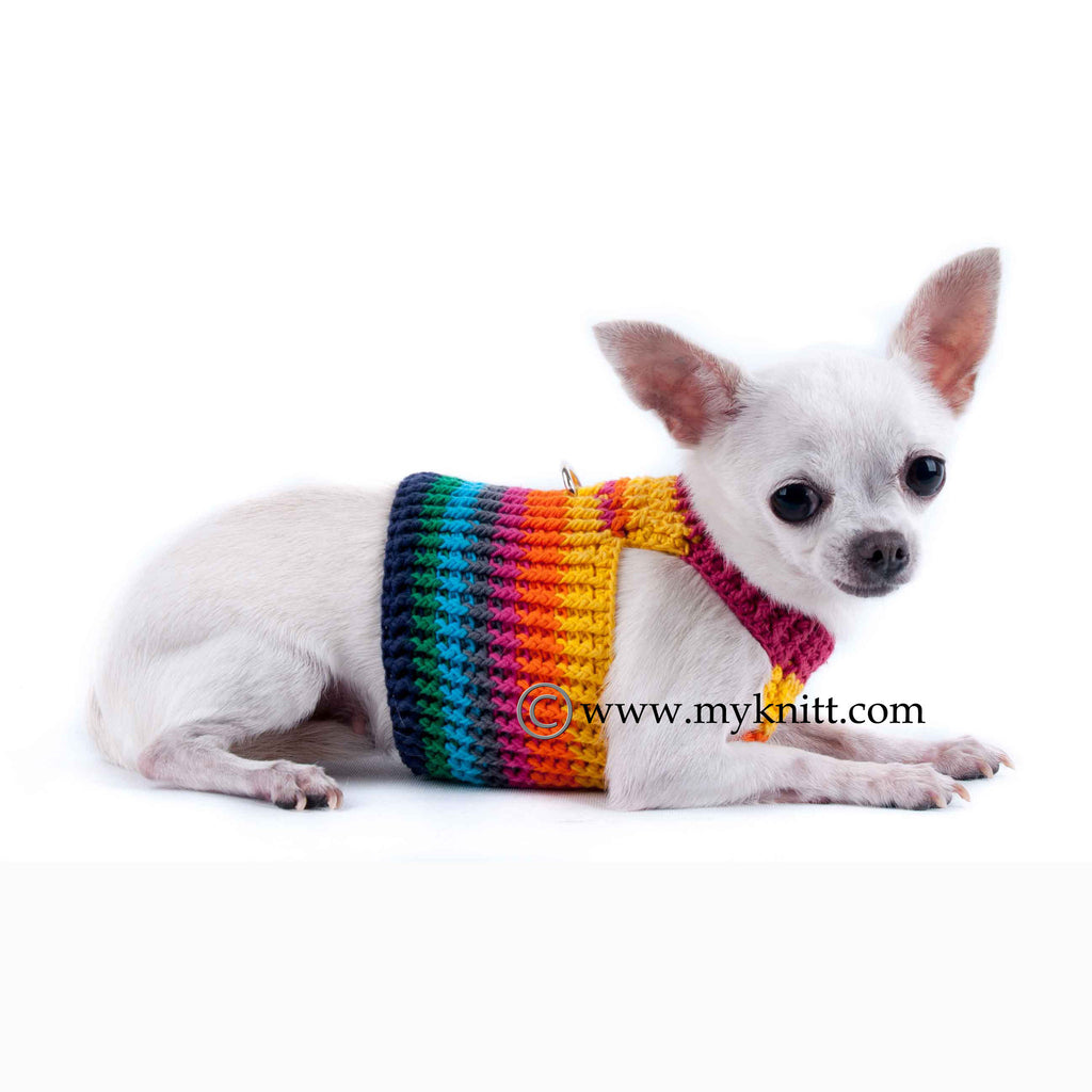 Cute Dog Harness Rainbow Colorful Cotton Choke Free Crochet DH5