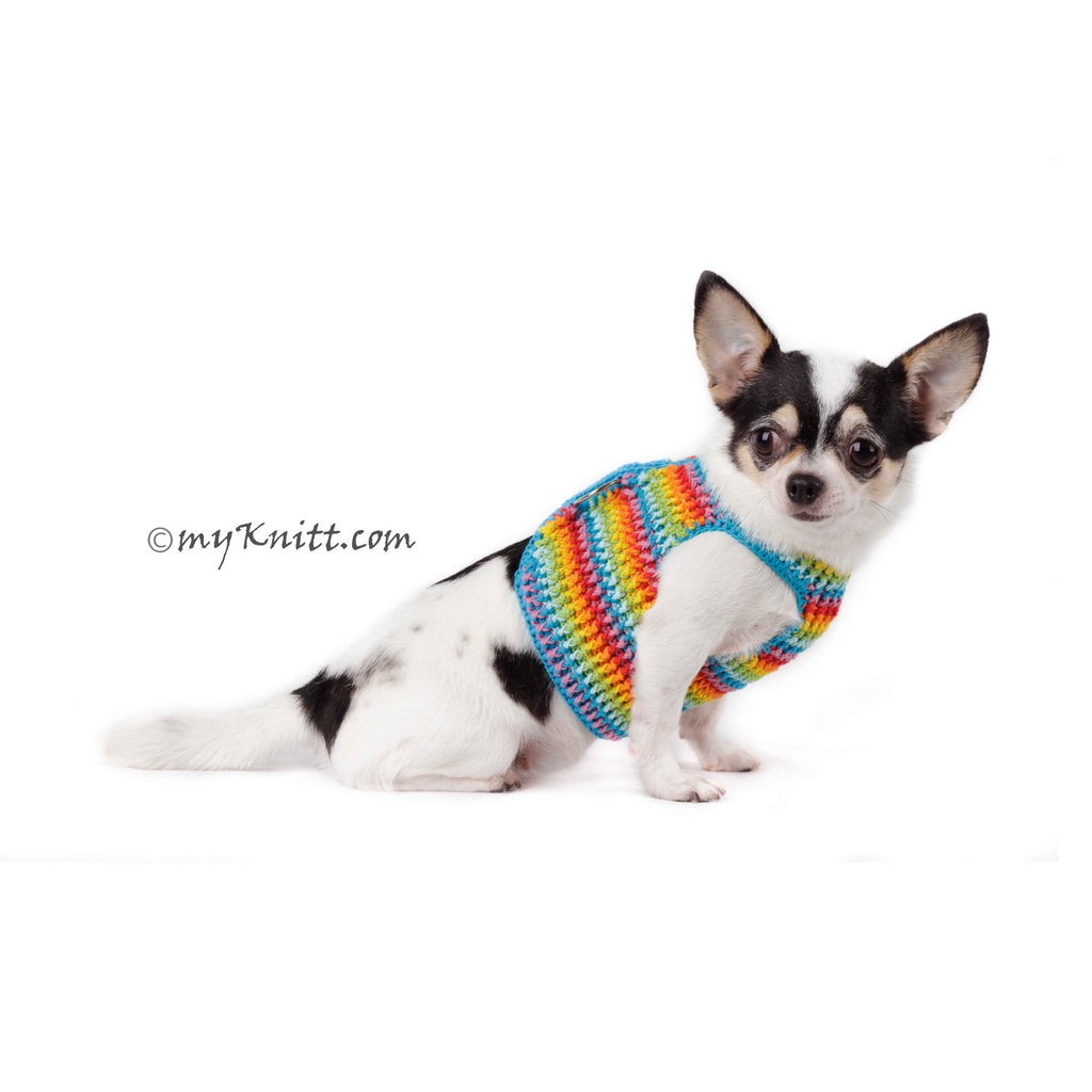 Fun Colorful Rainbow Dog Harness Velcro DH60