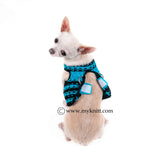 Turquoise Black Interlace Crochet Chihuahua Harness Velcro DH65
