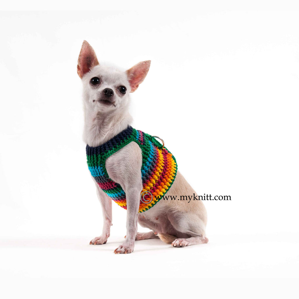 Rainbow Puppy Harness Hand Crochet Cotton Choke Free Adjustable Velcro DH66