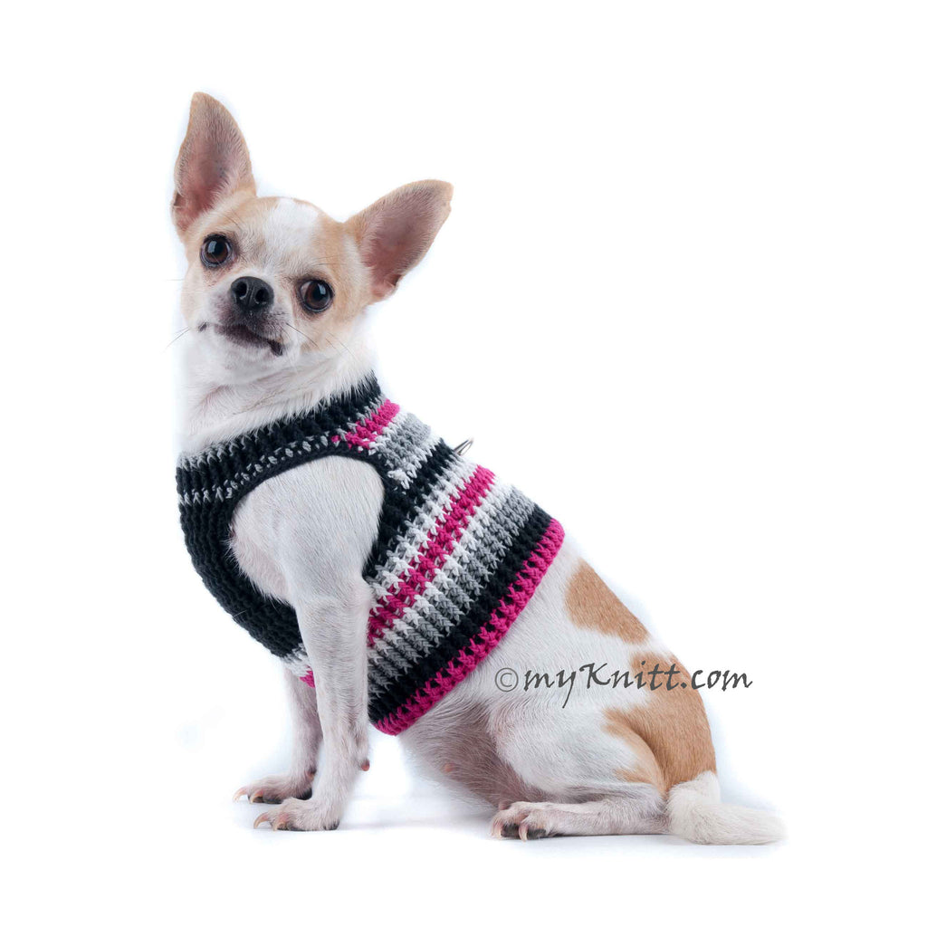 Black and Hot Pink Dog Harness Vest Soft Cotton Crochet DH68