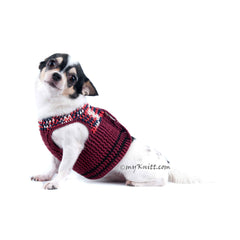 Burgundy Velcro Dog Harness Adjustable Chihuahua Clothes with D Ring DH70