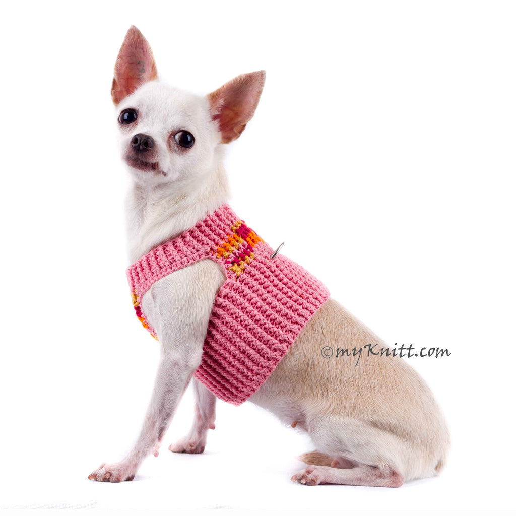 Pink Peach Dog Harness Short Comfortable Pet Collar DH72