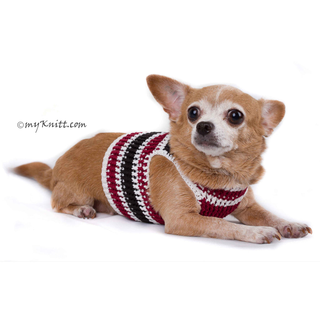 Black Maroon Dog Harness Vest Handmade Knit Choke Free Collar DH74