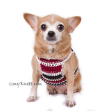 Black Maroon Dog Harness Vest Handmade Knit Choke Free Collar DH74 by Myknitt (1)