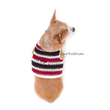 Black Maroon Dog Harness Vest Handmade Knit Choke Free Collar DH74 by Myknitt (2)