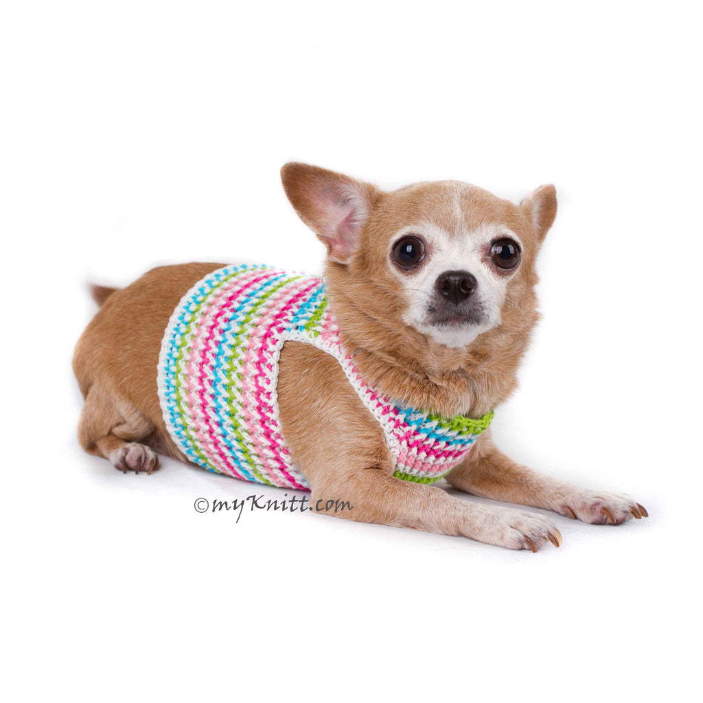 Rainbow Pink Turquoise Baby Color Hand Knitting Dog Harness Choke Free DH75