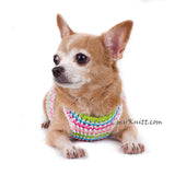 Rainbow Pink Turquoise Baby Color Hand Knitting Dog Harness Choke Free DH75 by Myknitt (1)
