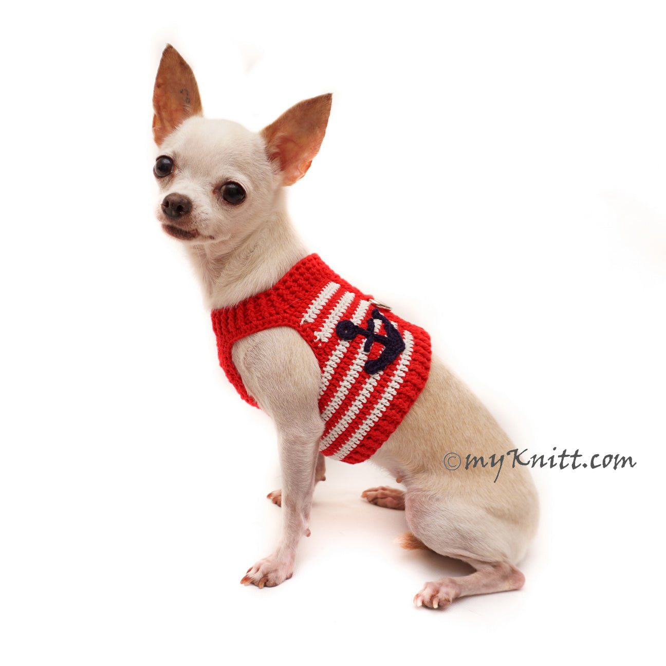 Red White Blue Dog Harness Sailor Anchor Hook DH79 by Myknitt