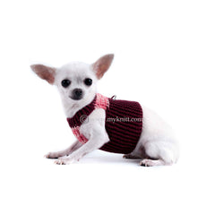Burgundy Pink Cotton Dog Harness Soft Pet Vest Harness DH7 by Myknitt