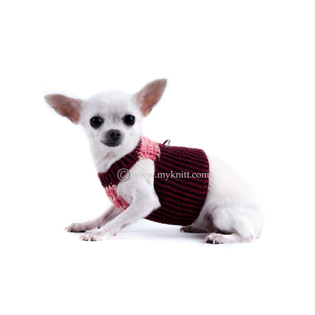 Soft Comfortable Pink Burgundy Hand Crochet Dog Harness DH7