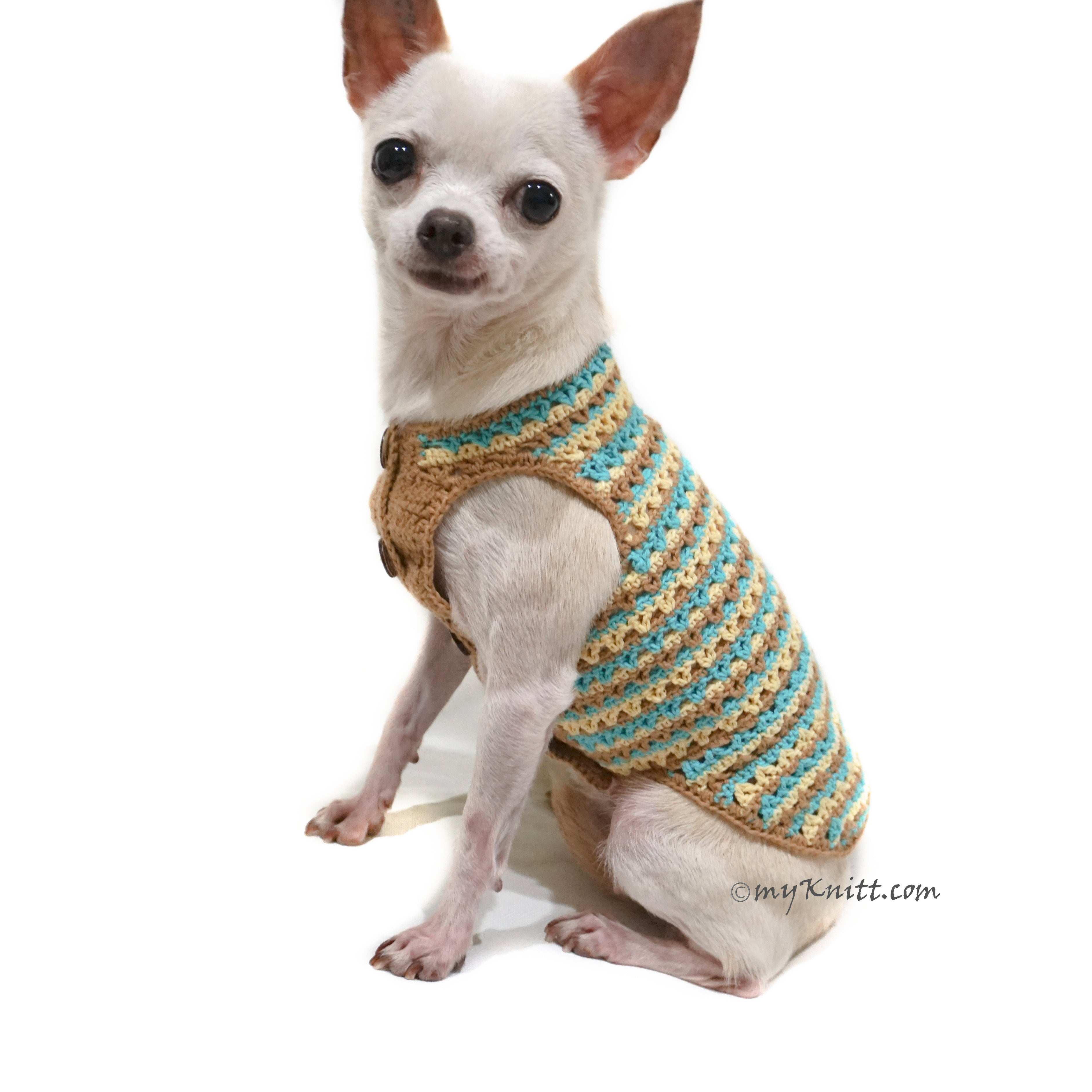 Teal Dog Shirt, Dog Clothes Boy, Chihuahua Clothes Summer DK774 by Myknitt