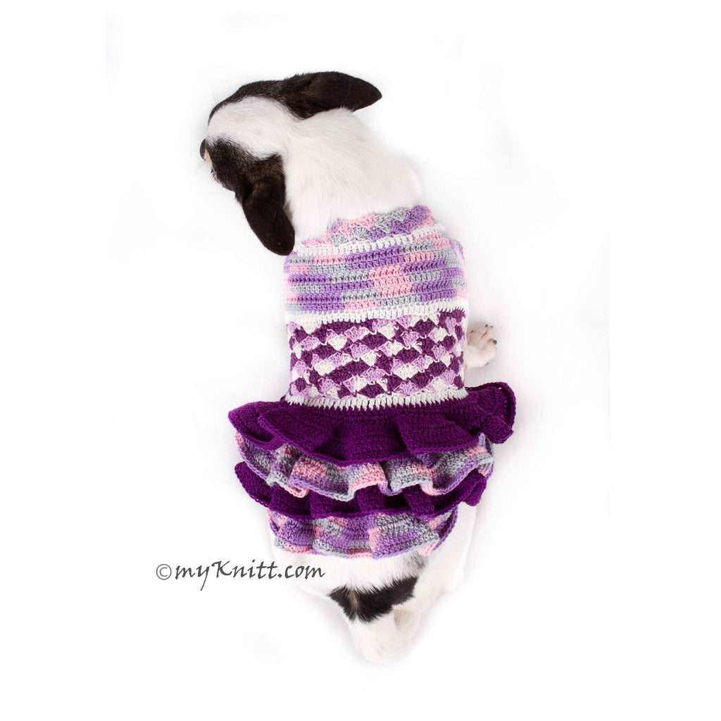 Purple Dog Dress Crocheted Ruffle Lace Trim Chihuahua Clothes DK775
