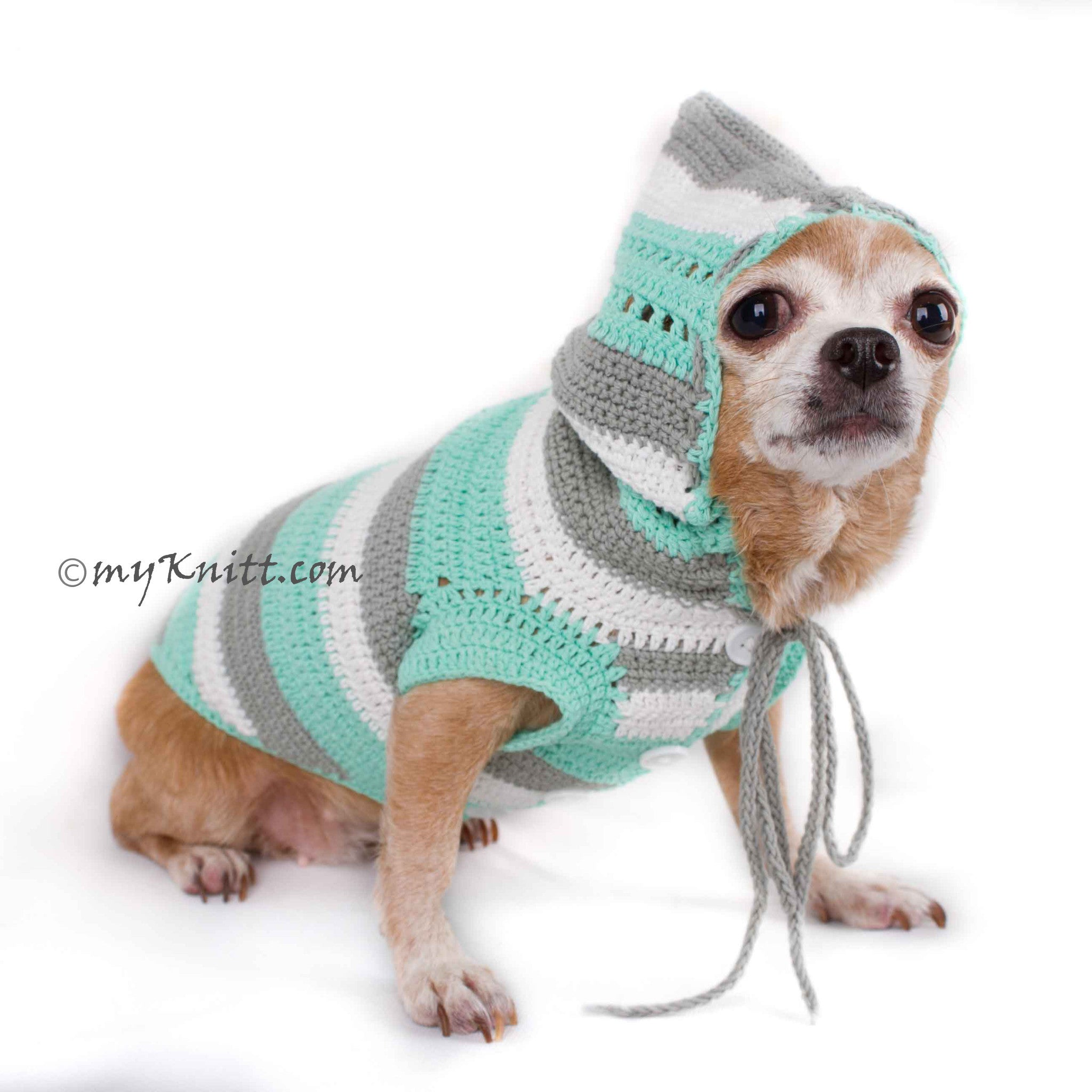 Warm Dog Hoodie Pastel Color Baby Handmade Knitted DK776 by Myknitt ...