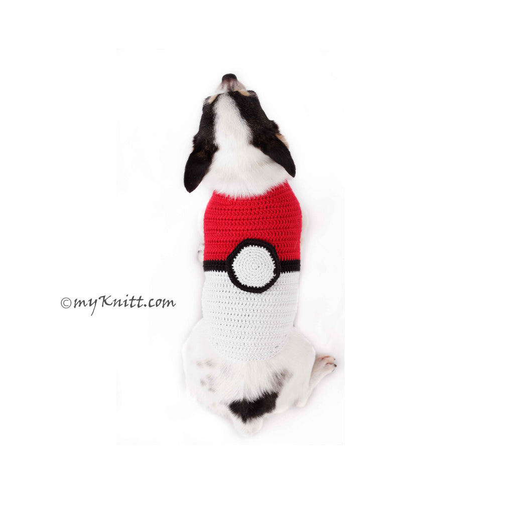 Pokemon Ball Dog Costume For Halloween Unique Handmade Crochet DK780