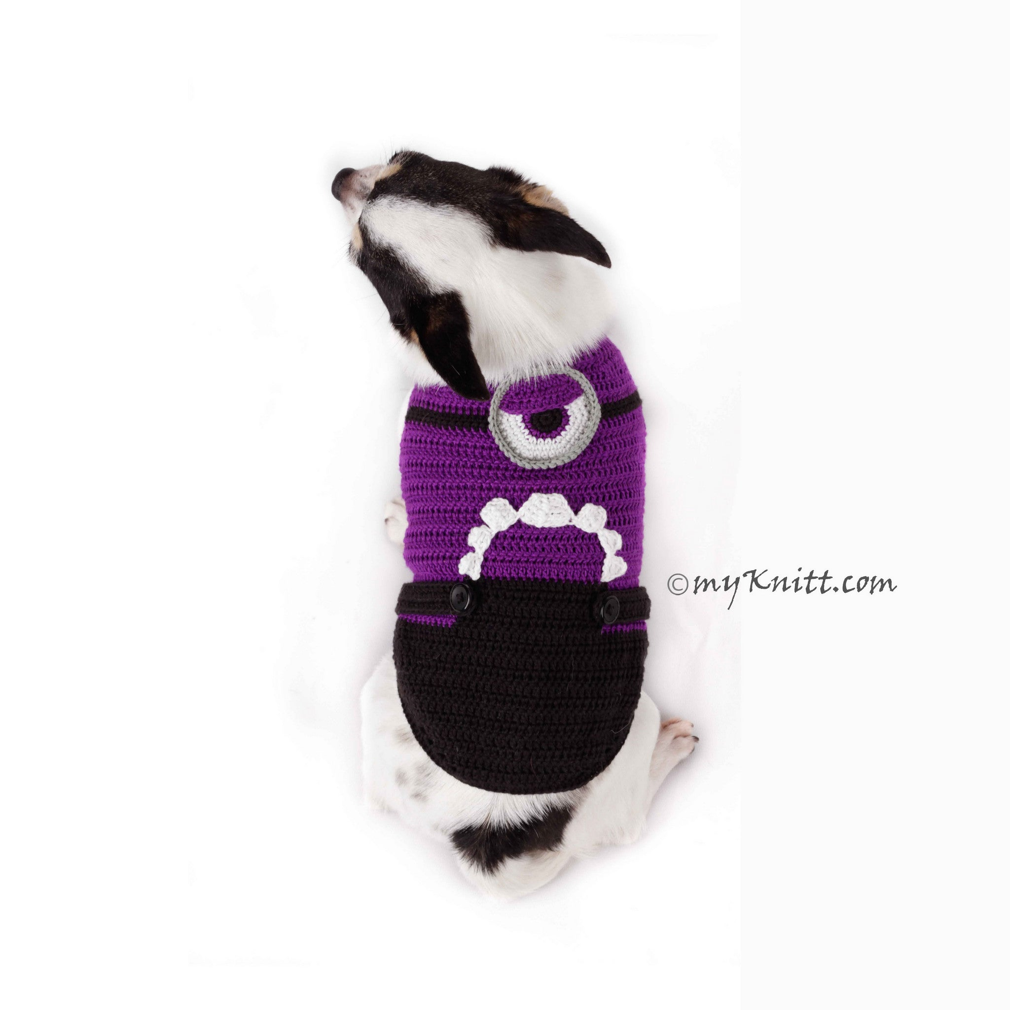 Evil Minion Dog Costume Purple Despicable Me Pet Clothes Halloween DK782 by Myknitt