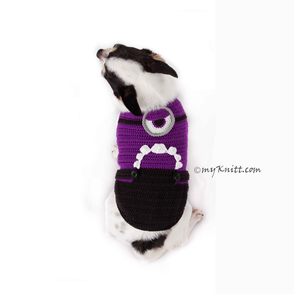Evil Minion Dog Costume Purple Despicable Me Pet Clothes Halloween DK782