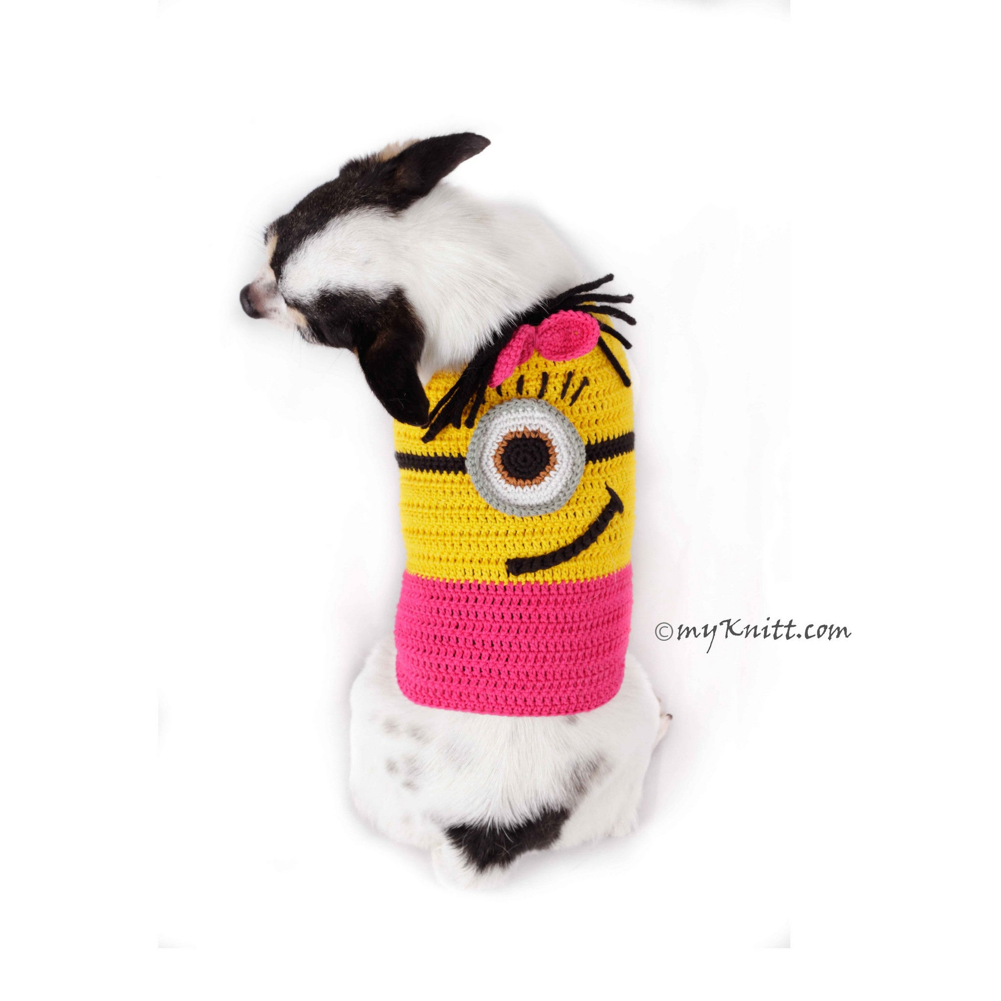 Pink Minion Dog Costume Cute Girl Despicable Me Pet Clothes for Halloween DK783 by Myknitt