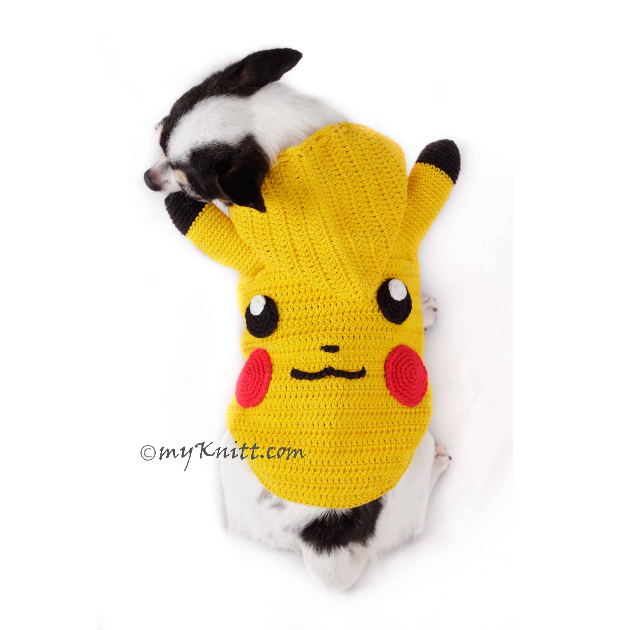Pikachu Dog Hoodie Pokemon Go Pet Costume for Halloween DK784 - By Myknitt