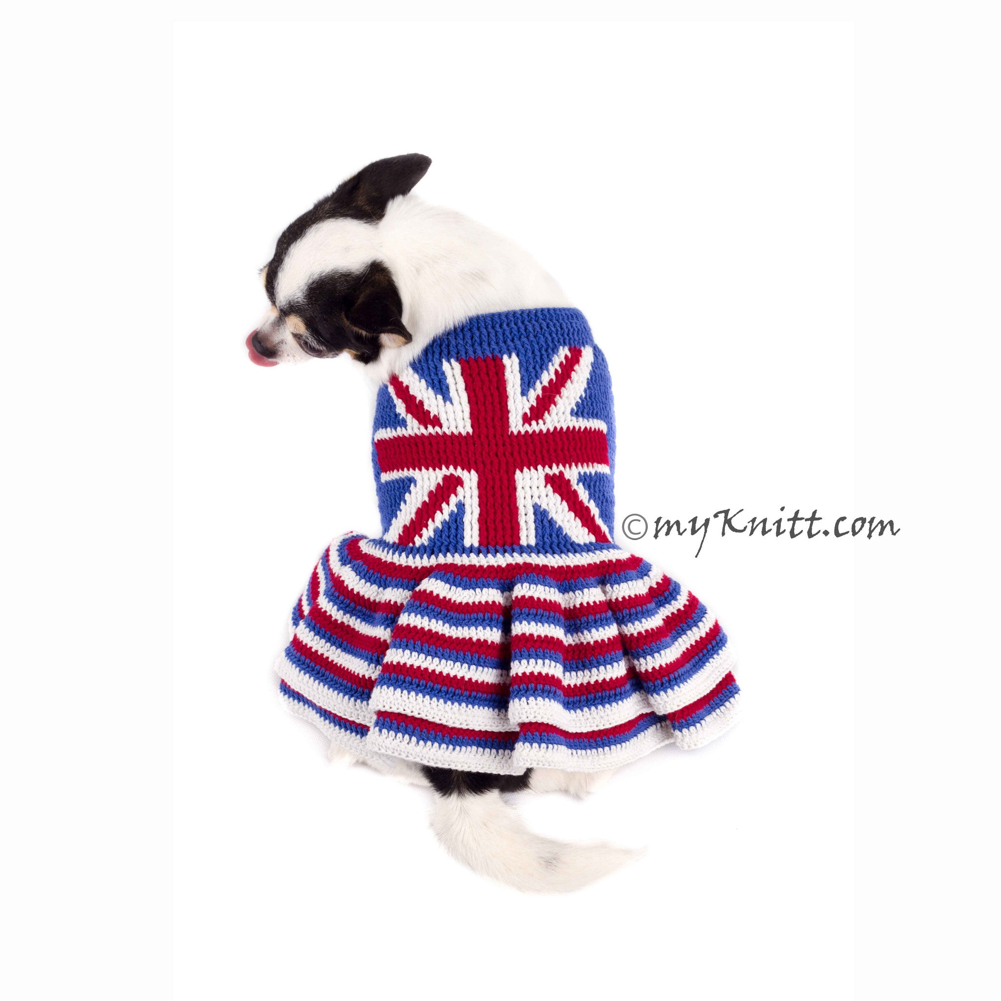 Union Jack Dog Dress Ruffle Crocheted DK790 Myknitt