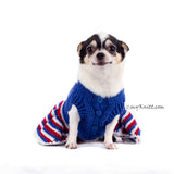 Union Jack Dog Dress Ruffle Crocheted DK790 Myknitt (1)