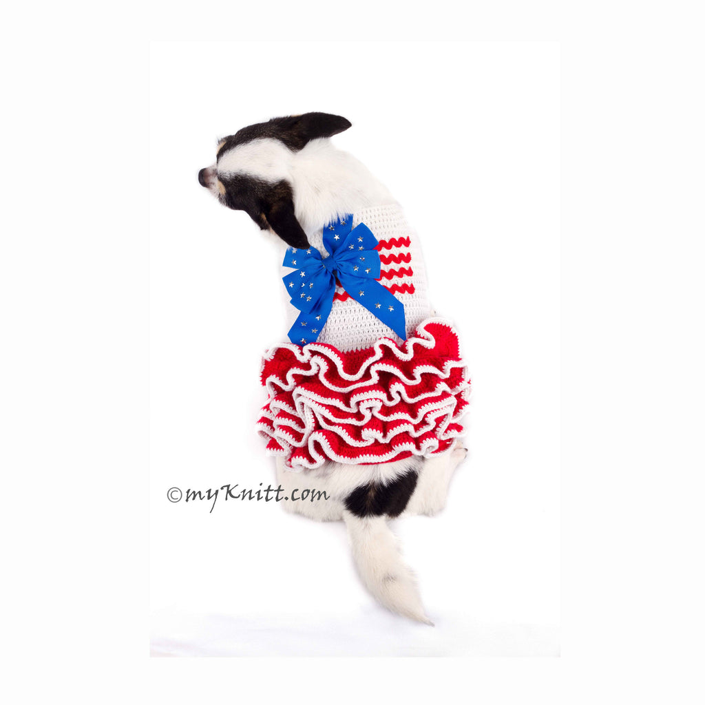 Ruffle Dog Dress 4th July Red White Blue with Star Ribbon DK791