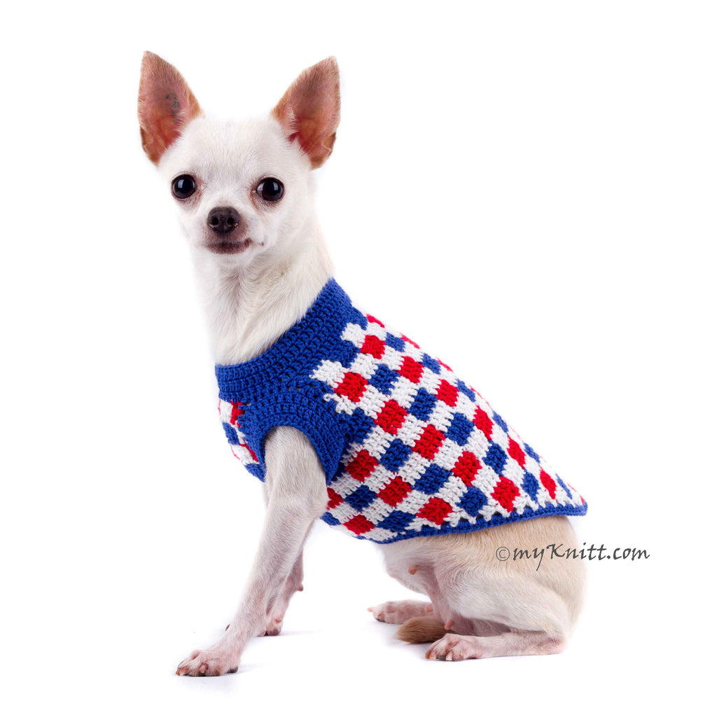 Plaid Red White Blue Dog Shirt 4th of July USA Handmade Crochet DK792