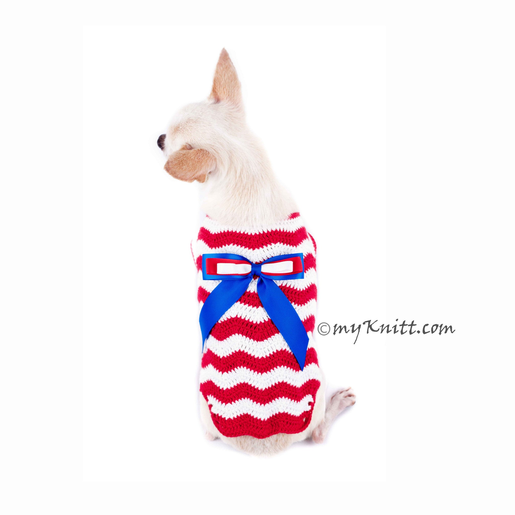 Red White Blue July 4th Dog Clothes Wavy Crochet with Ribbon DK793 ...